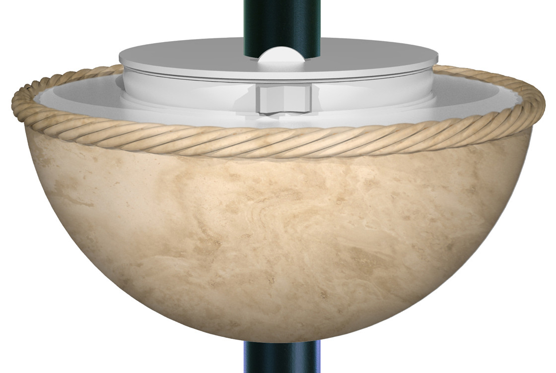 3DTravertine lampshade rope with pole